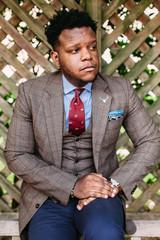 Vertical portrait of African American businessman