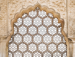 Ornate Window in Amber Fort