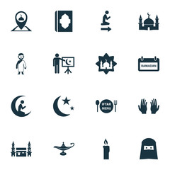 Ramadan Icons Set. Collection Of Pinpoint, Building, Nacht And Other Elements. Also Includes Symbols Such As God, Fire, Mecca.