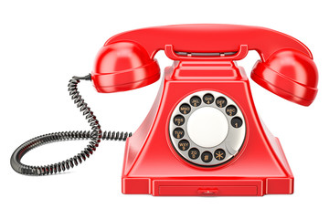 Red vintage phone, 3D rendering