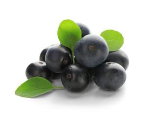 Fresh acai berries, isolated on white