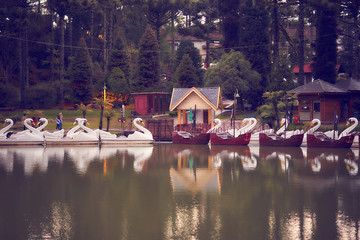 View of pedal boats on the Black Lake in the city of Gramado, Rio Grande do Sul, Brasil.
