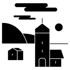 village  icon, vector illustration, black sign on isolated background