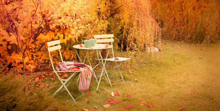 Colorful autumn garden nook with hot tea and blanket