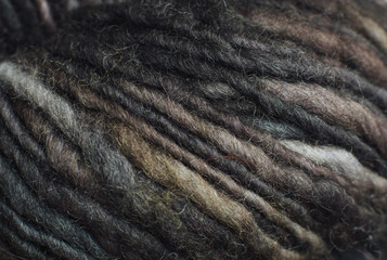 Close up detail of earth tone wool yarn