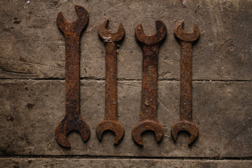 Vintage tools hammer nails and wrenches