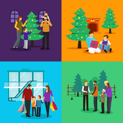 People Celebrating Christmas Clipart Illustration