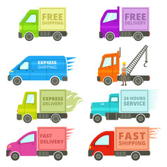 Trucks With Free or Fast Shipping Signs Illustration