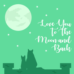 Love You To The Moon And Back Poster Illustration