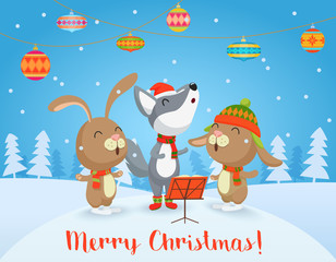 Vector Happy Christmas card with cute Wolf and rabbits friends sing songs together. Merry Christmas.