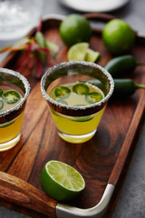 Jalapeno and lime margarita cocktails