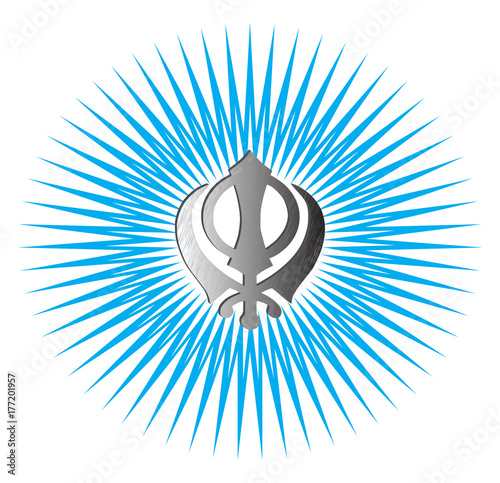 The Main Symbol Of Sikhism Sign Khanda Made Of White Metal