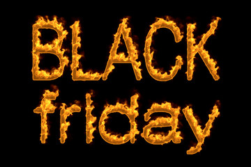 Fire 'Black friday' isolated on black background, 3d illustration