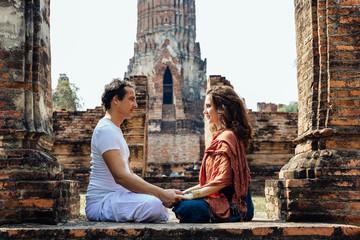 Couple Meditating in Ruins of Ayutthaya