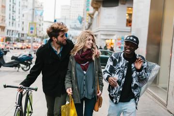 Three Friends Going Shopping