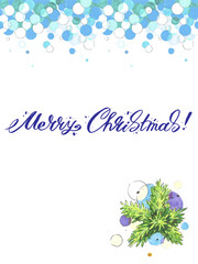 Merry Christmas lettering with mistletoe Greeting Card.