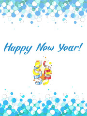 Happy New Year lettering Greeting Card.