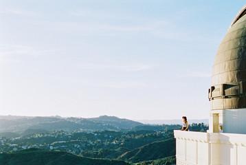 Woman overlooking Los Angeles