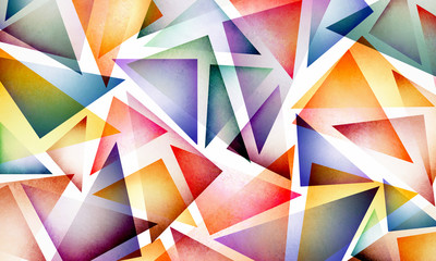 colorful bright and bold background design with triangle shapes in blue red pink yellow orange purple gold and green on white background