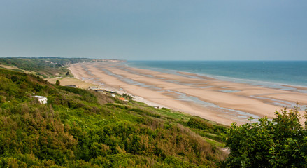 Scenic view Omaha Beach in Normandy France