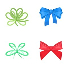 Bow, ribbon, decoration, and other web icon in cartoon style. Gift, bows, node, icons in set collection.