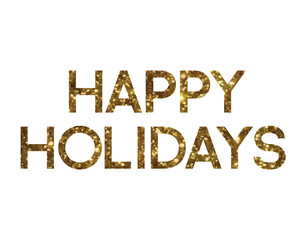 Golden glitter isolated standard font word HAPPY HOLIDAYS