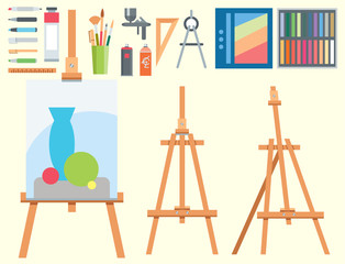 Art tools flat painting icons details stationery creative paint equipment vector artist instrument.