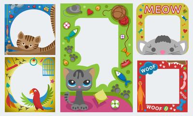Cute happy birthday pets photo frame birthday design baby celebration vector illustration.