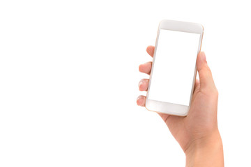 hand holding phone isolate on white background,use clipping path.