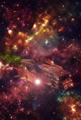 Original 3D illustration. Space fantasy scene. Alien galaxy and planets, nebula and space clouds. Futuristic spaceship vehicle.