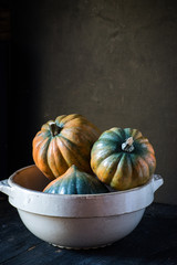 bowl of acorn squash in rustic setting