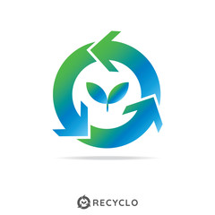 circle recycle with growth leaf logo concept. logo template