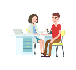 Doctor and patient measuring blood pressure. Medical treatment and healthcare, clinical analysis, medical examination vector illustration.