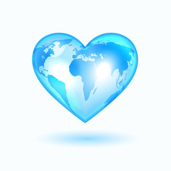 Heart with the world map, light blue and shining vector icon