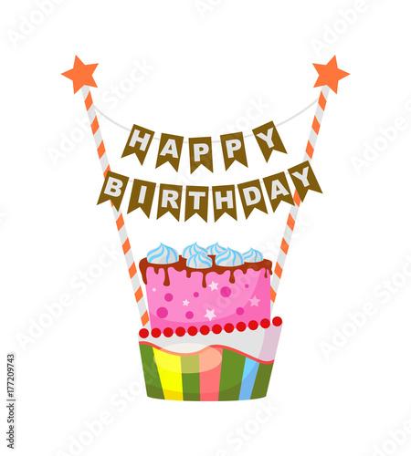Birthday Cake In Cartoon Style Holiday Congratulation Element