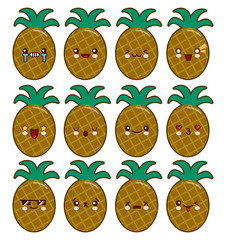Pineapple cartoon character set with emotions on the kawaii face Flat design Vector Illustration eps10