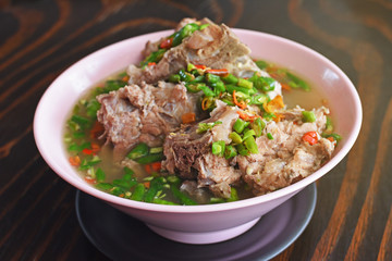 Delicious Thai spicy soup with Pork Ribs.