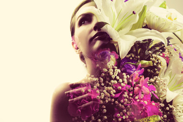 Multiple exposure of beautiful woman and flowers.