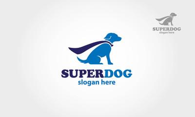 Blue super dog with a cape - vector logo illustration