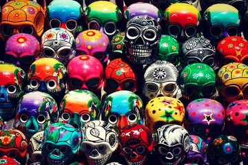 A mass of colourful sugar skulls in Oaxaca, Mexico.