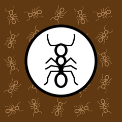 Ant icon sign and symbol on brown background