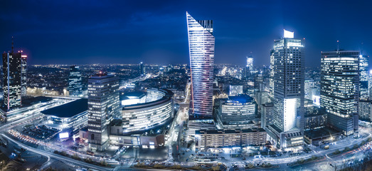 Panoramic view of Warsaw downtown during the night