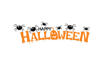 Happy Halloween Text, Vector  on white background