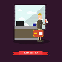 Passenger at the airport vector illustration in flat style