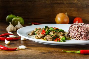 Thai food on white plate