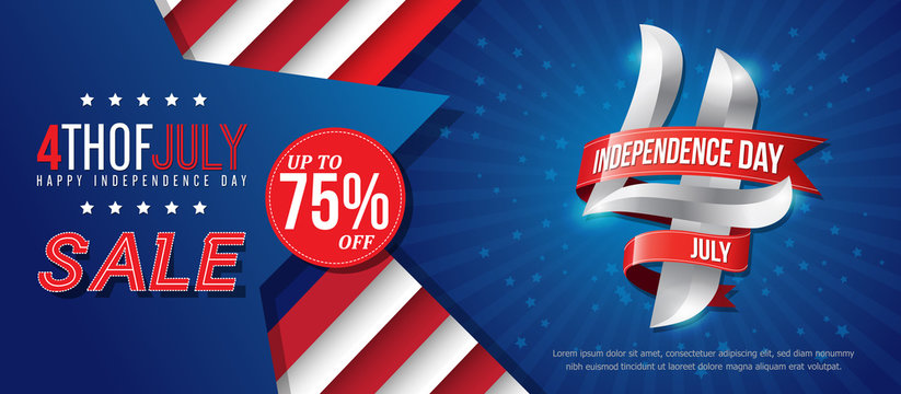 4th july happy independence day sale banner template design with red ribbons on blue back ground