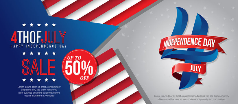 4th july happy independence day sale banner template design with red ribbons on white back ground