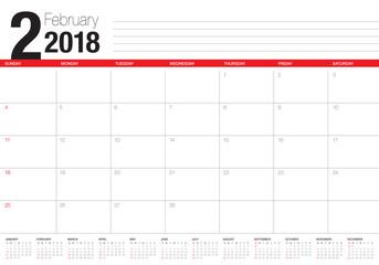 February 2018 calendar planner vector illustration