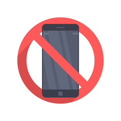 Vector icon prohibiting the use of a mobile phone or smartphone. Illustration in a flat design isolated on a white background.