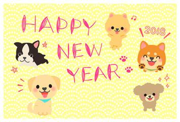 2018戌年の年賀状テンプレート たくさんの犬